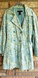 Lane Bryant Aqua Floral trench coat 18/20